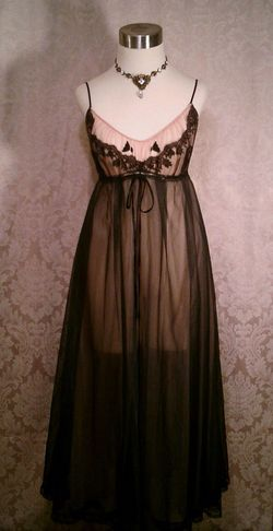 1960s black on nude illusion neckline sheer long nightgown  (1)