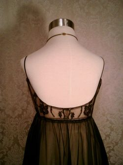 1960s black on nude illusion neckline sheer long nightgown  (5)