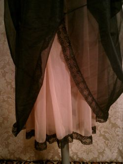 1960s black on nude illusion neckline sheer long nightgown  (6)