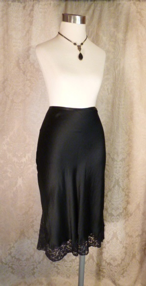 1930-40s Heavenly Silk Lingerie by Fischer Pure Silk Black half slip side zipper lace trim (5)