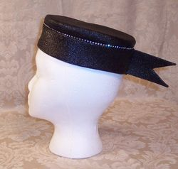 Vintage 1950s Luci Puci Woolf Bros. black cocktail hat rhinestone trim (2)
