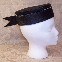 Vintage 1950s Luci Puci Woolf Bros. black cocktail hat rhinestone trim (1)