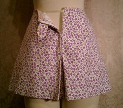 Vintage 1950s pin up girl front zipper shorts culottes (2)