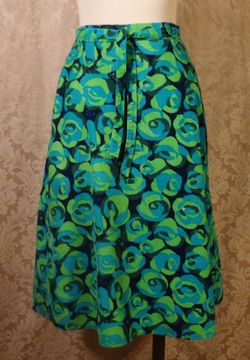 Vintage 1970s Liza by Lilly Pulitzer navy blue lime green turquoise corduroy wrap skirt  (3)