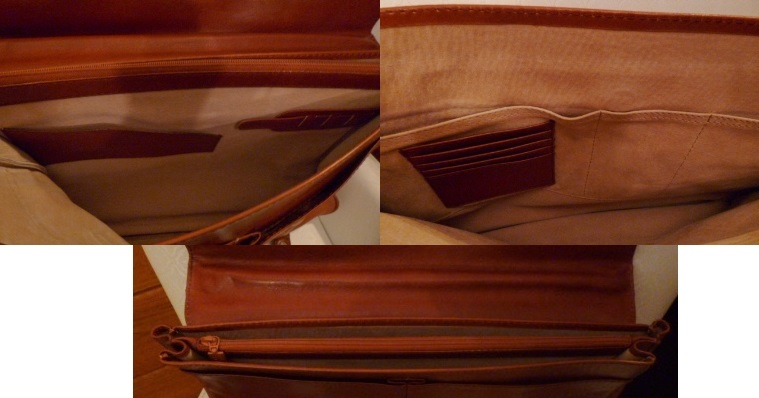 Inside of MEB leather briefcase