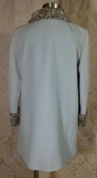 Vintage Zeller's Furs 1960's Baby Blue Car Coat Silver-Gray Persian Lamb Fur Collar & Cuffs (10)