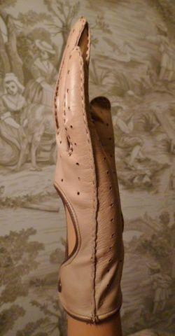 Vintage camel tan & brown leather driving gloves  (2)