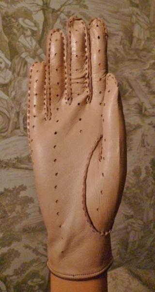 Vintage camel tan & brown leather driving gloves  (3)