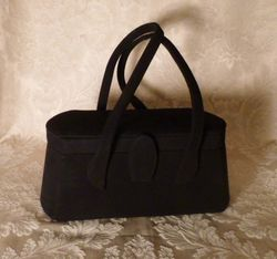 1940s Romay Black Suede purse (1)