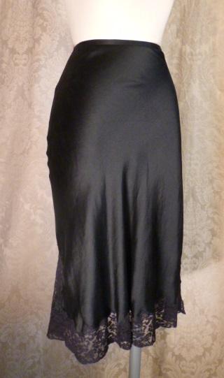 1930-40s Heavenly Silk Lingerie by Fischer Pure Silk Black half slip side zipper lace trim (10)