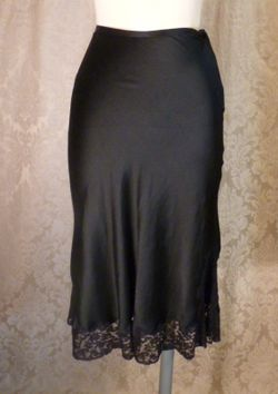 1930-40s Heavenly Silk Lingerie by Fischer Pure Silk Black half slip side zipper lace trim (6)