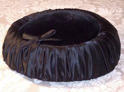 Vintage 1950s black velvet & ruched satin hat bow tie  (8)
