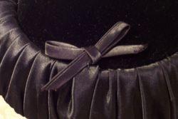 Vintage 1950s black velvet & ruched satin hat bow tie