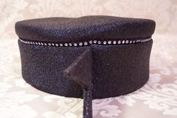 Vintage 1950s Luci Puci Woolf Bros. black cocktail hat rhinestone trim (9)