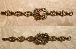 Vintage Banana Bob Art Deco Style Pink Green & Gold Opal Swarovski Crystal Bracele