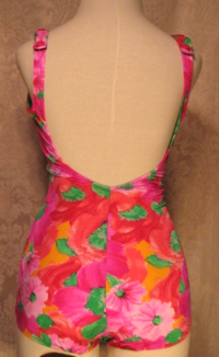 70s Roxanne pink & green floral vintage bathing suit (4)