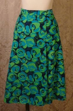 Vintage 1970s Liza by Lilly Pulitzer navy blue lime green turquoise corduroy wrap skirt  (8)