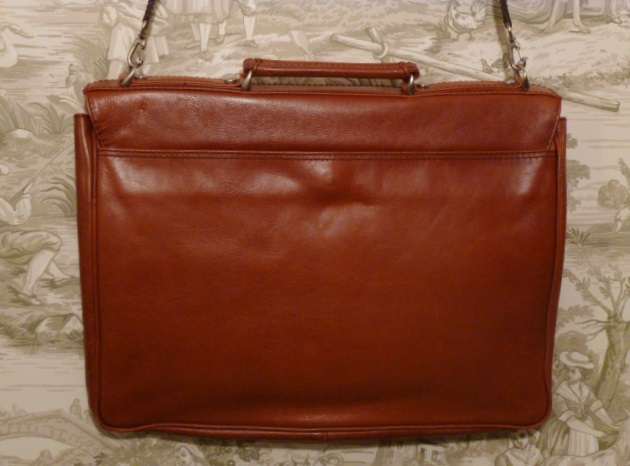 MEB Collection Cognac Leather double gusset briefcase (7)