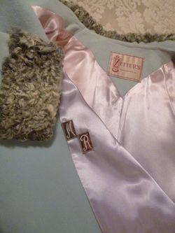 Vintage Zeller's Furs 1960's Baby Blue Car Coat Silver-Gray Persian Lamb Fur Collar & Cuffs (13)