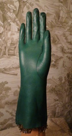 Vintage emerald green kid skin leather gloves  (2)