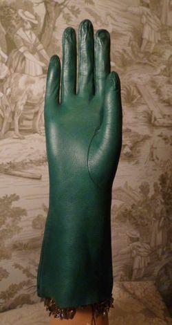 Vintage emerald green kid skin leather gloves  (2)