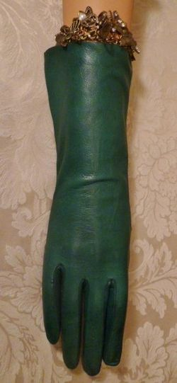 Vintage emerald green kid skin leather gloves  (3)