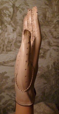 Vintage camel tan & brown leather driving gloves  (4)