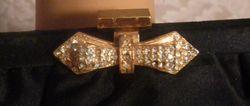 1950s Andre black silk satin purse braided handle rhinestone bow clip closure (3)