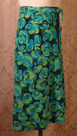 Vintage 1970s Liza by Lilly Pulitzer navy blue lime green turquoise corduroy wrap skirt  (6)