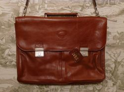 MEB Collection Cognac Leather double gusset briefcase (2)
