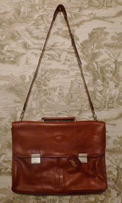 MEB Collection Cognac Leather double gusset briefcase (3)