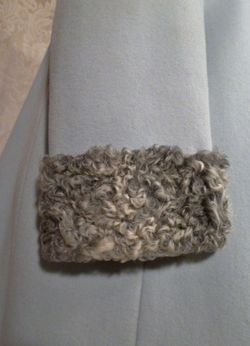 Vintage Zeller's Furs 1960's Baby Blue Car Coat Silver-Gray Persian Lamb Fur Collar & Cuffs (6)