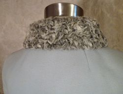 Vintage Zeller's Furs 1960's Baby Blue Car Coat Silver-Gray Persian Lamb Fur Collar & Cuffs (11)