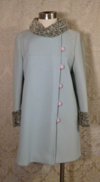 Vintage Zeller's Furs 1960's Baby Blue Car Coat Silver-Gray Persian Lamb Fur Collar & Cuffs (4)