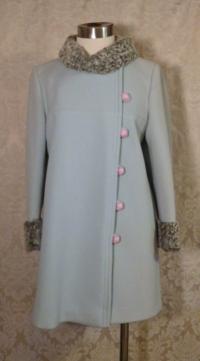 Vintage Zeller's Furs 1960's Baby Blue Car Coat Silver-Gray Persian Lamb Fur Collar & Cuffs (4)