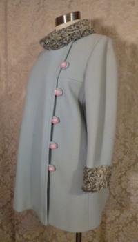 Vintage Zeller's Furs 1960's Baby Blue Car Coat Silver-Gray Persian Lamb Fur Collar & Cuffs (7)