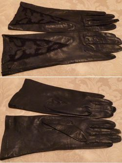 Vintage navy blue kid skin embroidered cut out leather gloves