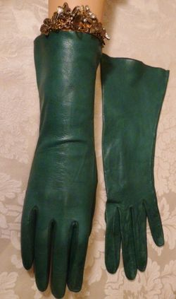 Vintage emerald green kid skin leather gloves  (4)