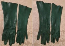 Vintage emerald green kid skin leather gloves  (5)