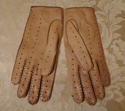 Vintage camel tan & brown leather driving gloves  (9)
