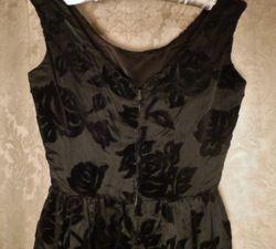 1960s Vintage Ben Barrack black flocked velvet gown (8)