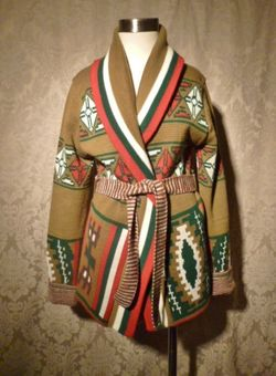 1970s vintage Christopher Rand ethnic Aztec shawl collar belted wrap sweater (1)