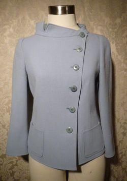 Armani Collezioni Assymetric Steel Blue Wool Jacket Blazer (3)