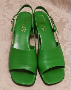Vintage Pappagallo 1960's   green apple leather sandals made in italy size 8M (1)