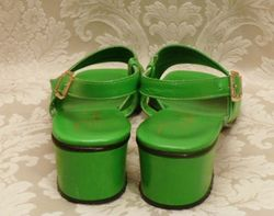 Vintage Pappagallo 1960's   green apple leather sandals made in italy size 8M (4)