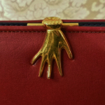 Vintage 1960s 70s surrealist hand clasp red leather wallet made in florence italy  (8)