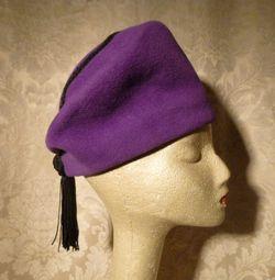 Eric Javits Vintage 80s 90s purple wool felt cossack shako hat black tassle trim (5)