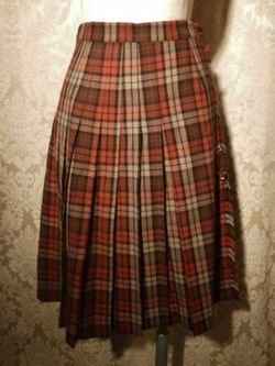 Vintage Michael Stevens orange brown pleated plaid wool wrap skirt (2)