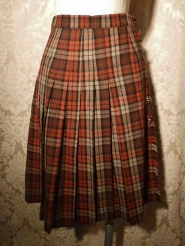 Vintage Michael Stevens orange brown pleated plaid wool wrap skirt (2)
