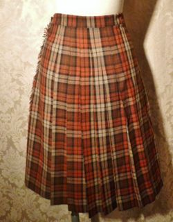 Vintage Michael Stevens orange brown pleated plaid wool wrap skirt (4)